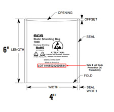 New SCS ESD Anti-Static Shielding Bags Open-Top Discharge Lead-Free 4x6 Computer