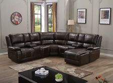 7 Pc BONDED LEATHER RECLINING SOFA RECLINER SECTIONAL SET Espresso Brown/Black