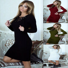 Women Long Sleeve Bandage Bodycon Knitted Evening Party Cocktail  Sweater Dress