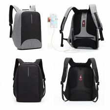 Notebook Waterproof Laptop Rucksack Computer Bag Backpack w/ USB Charge 15.6""