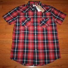 NWT NEW Mens Levi's Western Red White Blue Plaid Shirt Sawtooth Pearl Snap *2B