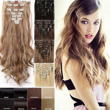 100% Natural New Hair Clip in Hair Extensions Full Head Long As Human Curly Wavy