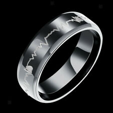 Lover Heartbeat Ring Couple Titanium Steel Wedding His and Her Promise Rings