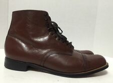 Vintage Stacy Adams Mens Leather Madison Cap Toe Lace Up Oxfords Ankle Boots