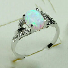925 Silver 2.4Ct White Fire Opal Women Jewelry Wedding Engagement Ring Size 6-10