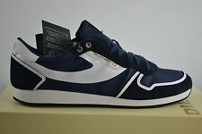 Diesel Pass on Blue Night / White Unisex Shoes Trainers Low Leather Lace Up