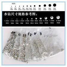 SS3-SS50 Clear AB COLOR Crystal Glass Round Nail art Rhinestones Flatback #06