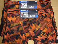 NWT 2 PACK FREERUN MEN'S NO FLY SATIN STRETCH SEXY BOXER BRIEF TRUNKS - M - L