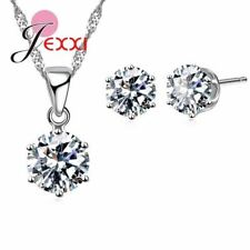 17 Colors 925 Sterling Silver Cubic Zirconia Pendant Necklace Earrings