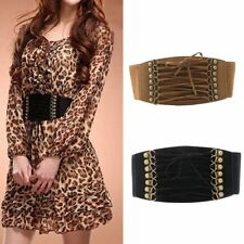 Womens Stretch Buckle Waist Belt Lace Up Wide Leather Elastic Corset Waistband