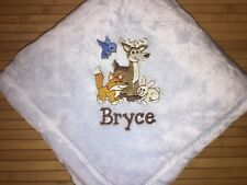 Personalized Forest Animals Baby Boy Girl Blanket Monogrammed