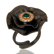 Black Oxidized Textured Folied Fabulous Adjustable Ring Attractive Jewelry