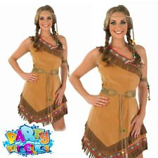 Ladies Red Indian Squaw Fancy Dress Costume Pocahontas Womens Book Day Outfit