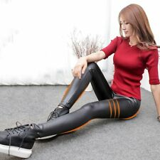 Women Winter Thick Warm Leather Leggings Stretch Skinny Pants Trousers Footless
