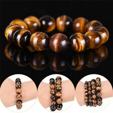Natural Tiger Eye Stone Lucky Bless Beads Men Woman Jewelry Bracelet Bangle 2P3