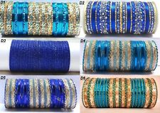 Indian Gold Tone Blue Colored Style Fashion Bangles Set 2.4, 2.6, 2.8 Jewelry