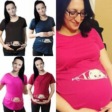Funny Print Cartoon Baby Staring Womens Maternity Pregnant Mother T-shirt Tops