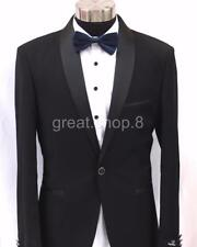 Men's BLACK Tux Suit Jacket - TUXEDO with Satin Trims - Size L to XXL - 80% WOOL