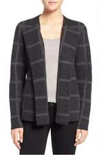 NWT Eileen Fisher $298 Charc/Ash Felted Merino Windowpane Roundneck Jacket