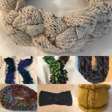 Hand knit  Scarves, Cowls,  Purse - Red - Gold - Blue - Green - Gray - Natural