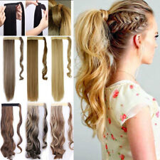 US Real Thick Clip In as human Hair Extension Wrap Around Ponytail Black Blonde