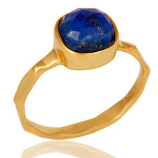 Blue Lapis Lazuli 925 Sterling Silver Stackable Ring Gold Plated Jewelry