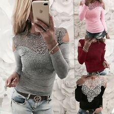Fashion Women Long Sleeve Lace Casual Bodycon T-shirt Ladies Blouse Tops Shrit