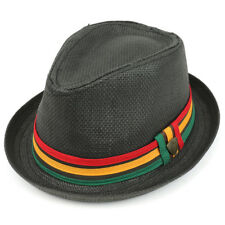 Paper Straw Woven Fedora Hat With Rasta Band - FREE SHIPPING