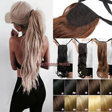"17-27"" Long Thick Drawstring Ponytail Clip in Hair Extension Real As Human Style"