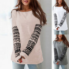 Fashion Womens Crew Neck Printed Pullover T Shirt Long Sleeve Tops Shirt Blouse