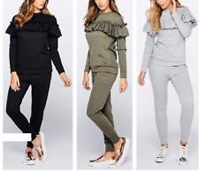 New Ladies Stylish long sleeves Frill Detail Top and Jogger Lounge Suit UK 8-14