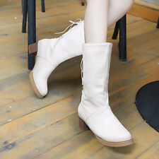 Women Lace Up Mid-Calf Boots Block Heel Round Toe Winter Shoes White Purple