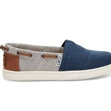 NEW TOMS NAVY CANVAS STRIPES YOUTH BIMINIS SHOES