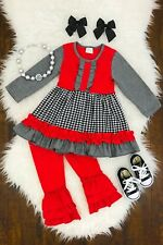 Girl's Boutique Outfit 2 Piece Red Ruffle Tunic Top + Leggings Pant Clothes Set