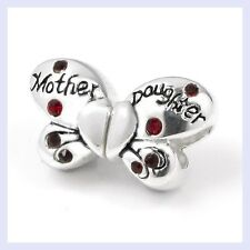 Sterling Silver Butterfly Mother Daughter Red CZ Bead f/ European Charm Bracelet