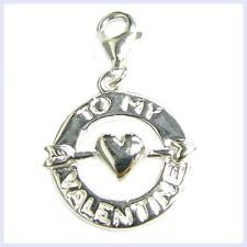 Sterling Silver To My Valentine Lobster Clip Bead for European Charm Bracelet