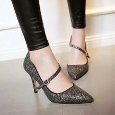 Womens High Heels Pumps Party Stiletto Pointy Toe Wedding Shiny Sequin Shoes