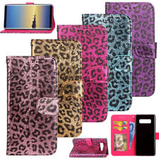 For Samsung Galaxy Note 8 Card Wallet Leather Skin Case Luxury Leopard Stand