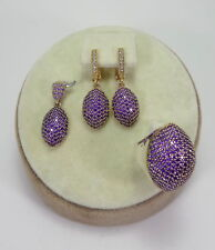 STERLING 925 SILVER JEWELRY HANDMADE FABULOUS MICRO-PAVE AMETHYST FULL SET