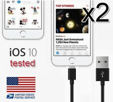 2x Black Braided Sync Data Cable USB Charger For iPhone X 8 Plus iPod Touch Nano