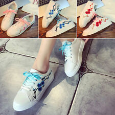 Girls Fashion Flower Embroidered Casual Lace Up Sneakers Trainer Flat New Shoes