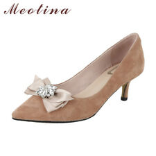 Kitten Heels Genuine Leather Women Shoes Suede Crystal Bow Pointed Toe Pumps