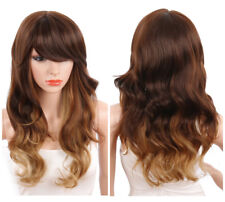 Sexy Long Body Wavy Wig Side Bangs Ombre Brown To Blonde Synthetic Wig for Women
