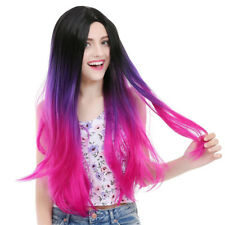 Fashion Long Straight Ombre Purple Synthetic Full Wig for Women with middle part