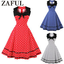 Womens Retro 1950s Rockabilly Polka Dot Evening Prom Party Swing Dress Vintage