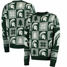 Michigan State Spartans Green Patches Ugly Pullover Sweater - College