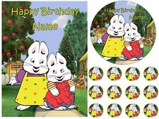 MAX AND RUBY EDIBLE CAKE TOPPER OR CUPCAKES PARTY ICING SHEET IMAGE BIRTHDAY