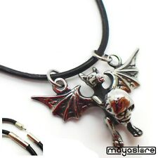 Pendant Necklace Bat Vampire Bat Skull Leather Chain Pendant Necklace Gothic