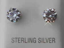 Genuine 925 Sterling Silver CZ Stud Earrings