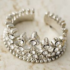Nice White GF Clear CZ Womens Imperial crown Ring SZ 5-10#D5183 -D5188
